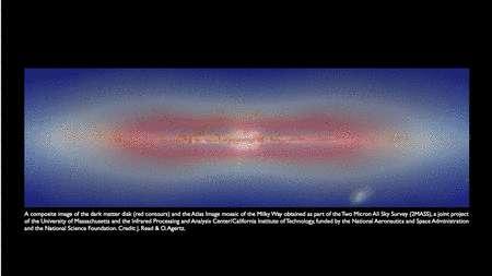 Cliquez pour agrandir. Une image composite du disque de matière noire de la simulation (rouge) et d'une image de notre Galaxie fournie par 2MASS en infrarouge. © J. Read & O. Agertz