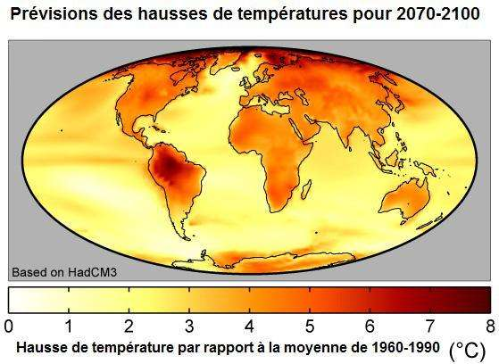 La plupart des modèles du Groupe intergouvernemental d'étude du climat (Giec) prévoient une intense augmentation de la température pour 2100. La répartition géographique des anomalies de température montre une nette augmentation de température des océans au niveau de l'équateur. Les hausses de température varient entre 0 et 8 °C et sont calculées à partir de la température moyenne entre 1960 et 1990. © IPCC