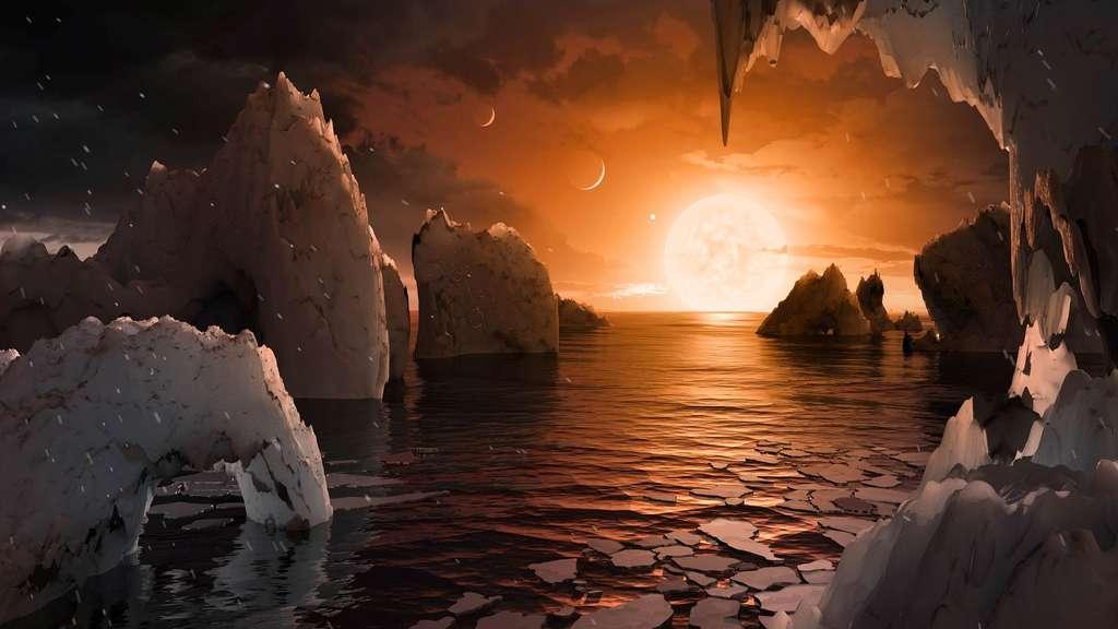 Une vue d'artiste de la surface possible de Trappist 1f. © Nasa JPL-Caltech T. Pyle IPAC