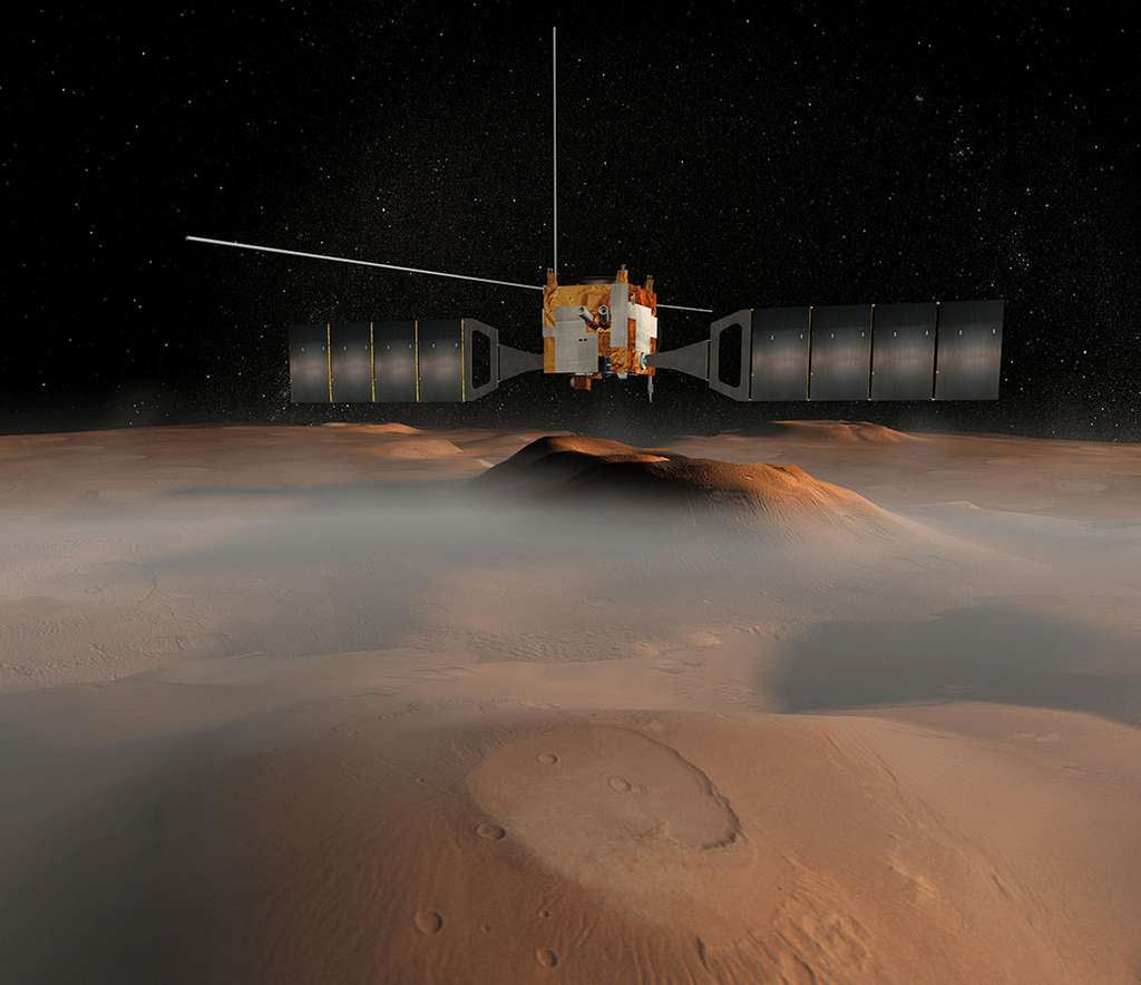 Représentation 3D de Mars Express survolant la Planète rouge. © ESA, Nasa
