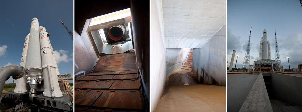 À gauche, buse du château d'eau qui permet d'inonder la table de lancement. Les trois images suivantes montrent le carneau d'évacuation du moteur Vulcain 2. © S. Corvaja, Rémy Decourt, Esa