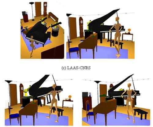 Deux robots mobiles avec un bras maniplateur et un mannequin virtuel coopèrent pour transporter un piano dans un environnement encombré. © LAAS-CNRS