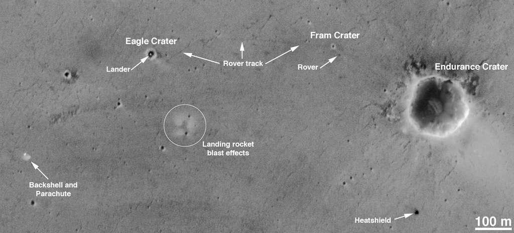 Le rover Opportunity vu depuis l'espace