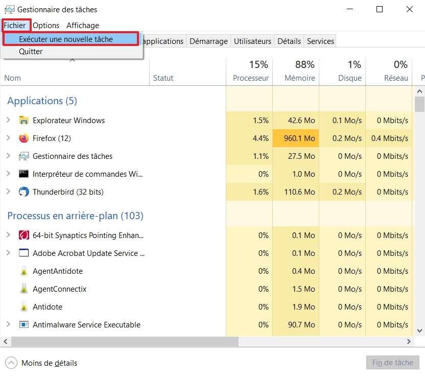 Cliquez sur « Fichier », puis « Exécuter une nouvelle tâche ». © Microsoft