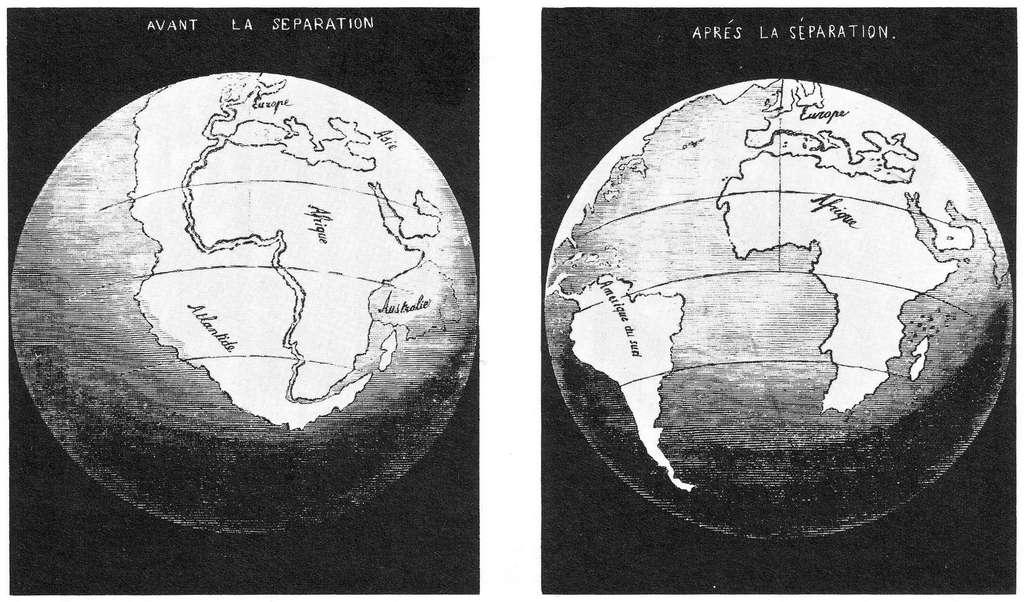 Emboîtement de l'Afrique et de l'Amérique du Sud selon Antonio Snider-Pellegrini dans La Création et ses mystères dévoilés (1858). © DR