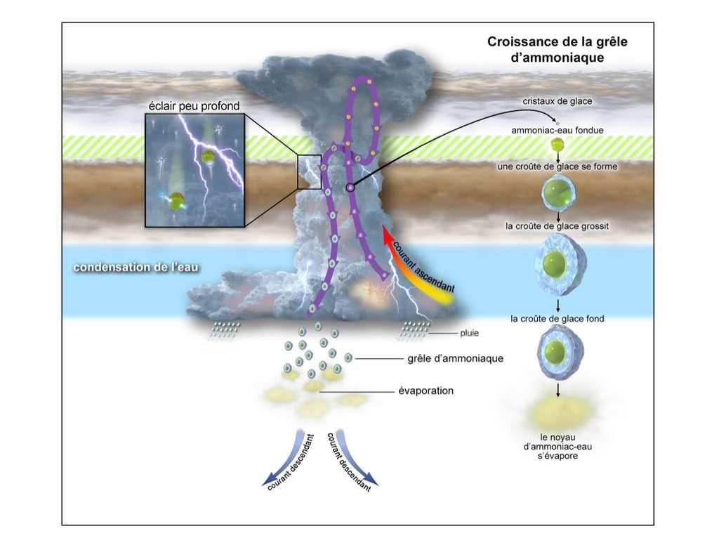Sur cette représentation, un orage prend naissance sur Jupiter, environ 50 kilomètres sous les nuages visibles, par la condensation de l'eau. Des courants ascendants transportent des cristaux de glace vers le haut. À environ 25 kilomètres sous les nuages supérieurs, à des températures comprises entre -85 °C et -100 °C (zone hachurée en vert), la vapeur d'ammoniac fait fondre les cristaux de glace qui grossissent pour devenir de la grêle d'ammoniaque. En tombant, cette grêle emporte à la fois l'ammoniac et l'eau dans l'atmosphère profonde de Jupiter. © Nasa, JPL-Caltech, SwRI, CNRS