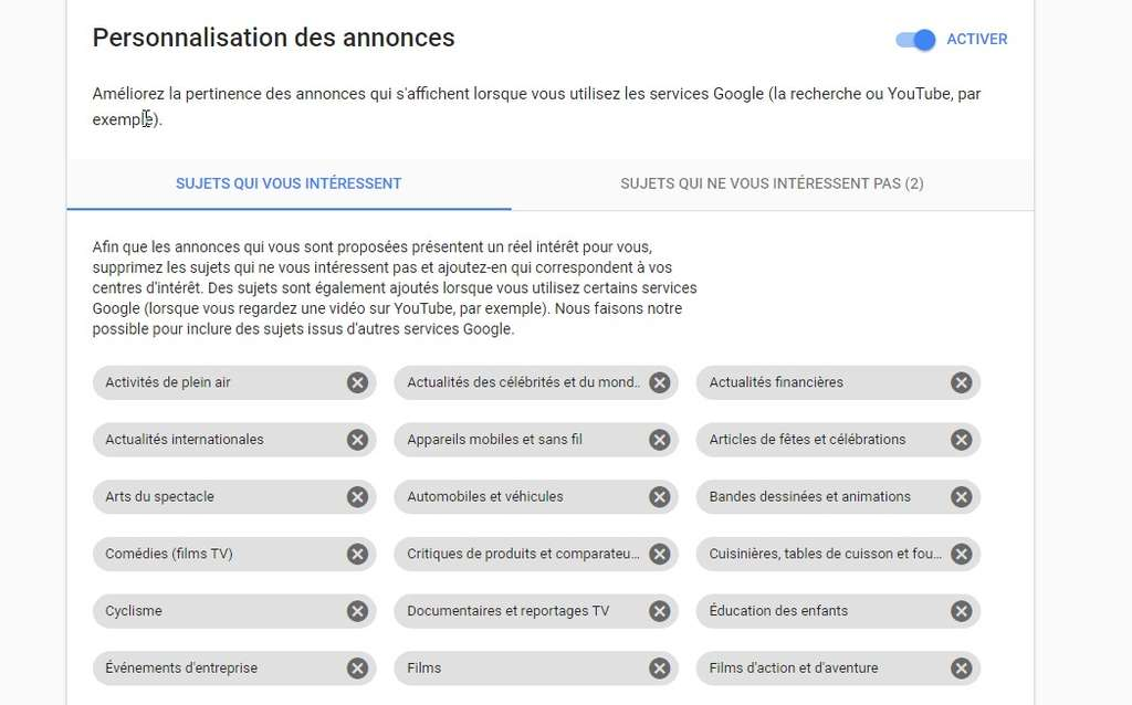Chaque titulaire d'un compte Google a la possibilité de contrôler ou même de désactiver la personnalisation des publicités. © Futura