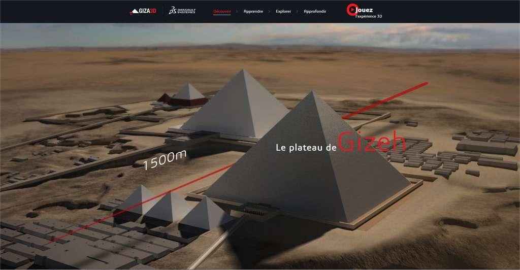 La visite du site des pyramides de Gizeh commence par un survol. La molette de la souris la fait poursuivre. On peut aussi cliquer sur les noms des rubriques (Apprendre, Explorer, etc.) ou se promener en trois dimensions avec le dernier bouton en haut à droite. © Dassault Systems/Museum of Fine Arts Boston