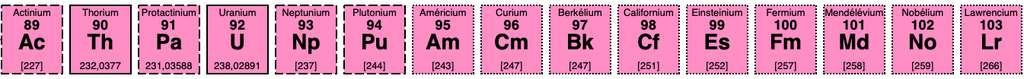 Il existe 15 actinides, dont les isotopes radioactifs se trouvent à l'état naturel ou sont produits artificiellement par réaction de fission. © DR