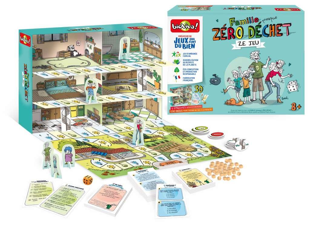 «Famille (presque) Zéro Déchet – ZE Jeu» est un jeu de plateau, éco-conçu et fabriqué en France qui invite toute la famille à entamer en s'amusant une démarche (presque) zéro déchet. Dès 8 ans, 29,99 € © Bioviva