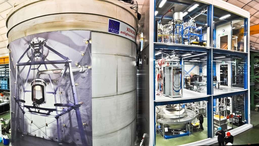 Xenon 1T, une cuve de 1.300 kilogrammes de xénon liquide ultra-pur protégé des rayonnements cosmiques dans un cryostat immergé dans l'eau et surplombé de 1.500 mètres de montagnes. © Xenon Collaboration