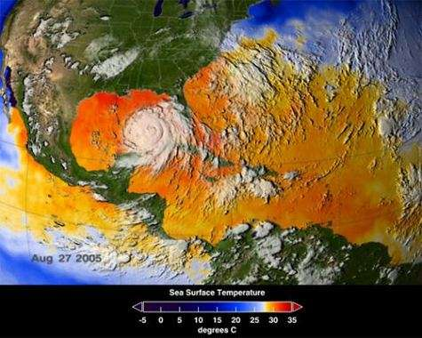 Température de surface moyenne entre le 25 et le 27 août 2005, mesurée par l'instrument AMSR-E du satellite Aqua (Crédits : NASA/SVS)