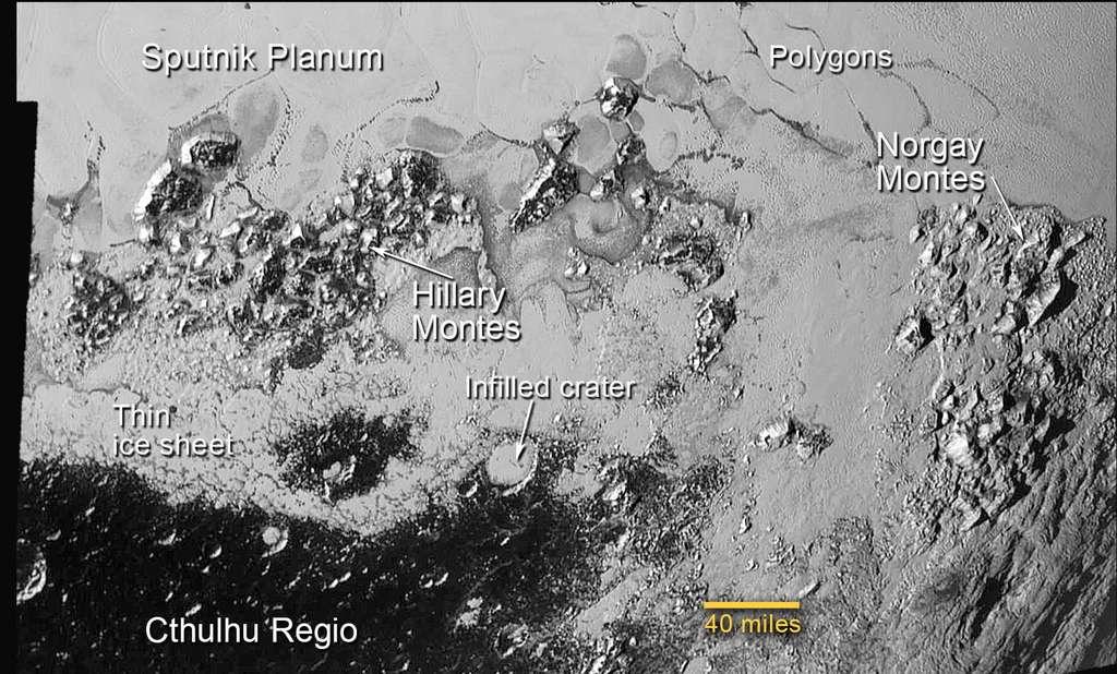 Les montagnes de la plaine Spoutnik