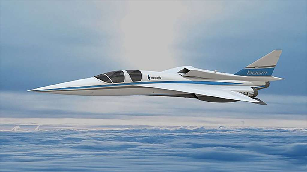 Vue d'artiste du démonstrateur XB-1 qui préfigure Overture, l'avion supersonique de Boom Supersonic. © Boom Supersonic