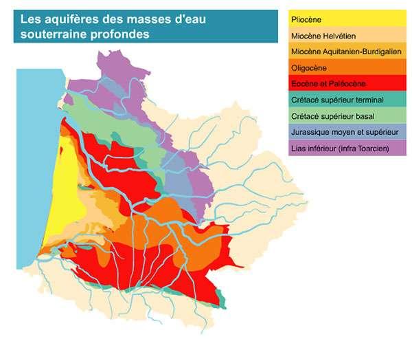 Zones aquifères profondes du bassin Adour-Garonne. © Agence de l'eau Adour-Garonne