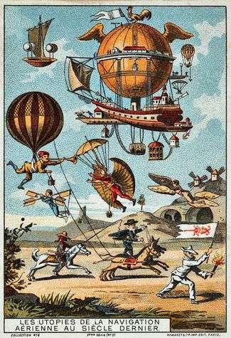 Cette gravure met en avant les plus belles utopies du XVIIIe siècle. On y aperçoit au fond à gauche la machine volante de Francesco Lana de Terzi. © Romanet & Cie, collection 476, 2e série