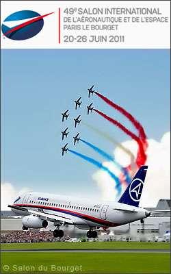 Le Salon du Bourget : des avions sur le tarmac et des présentations en vol, comme ici la Patrouille de France. © Salon du Bourget