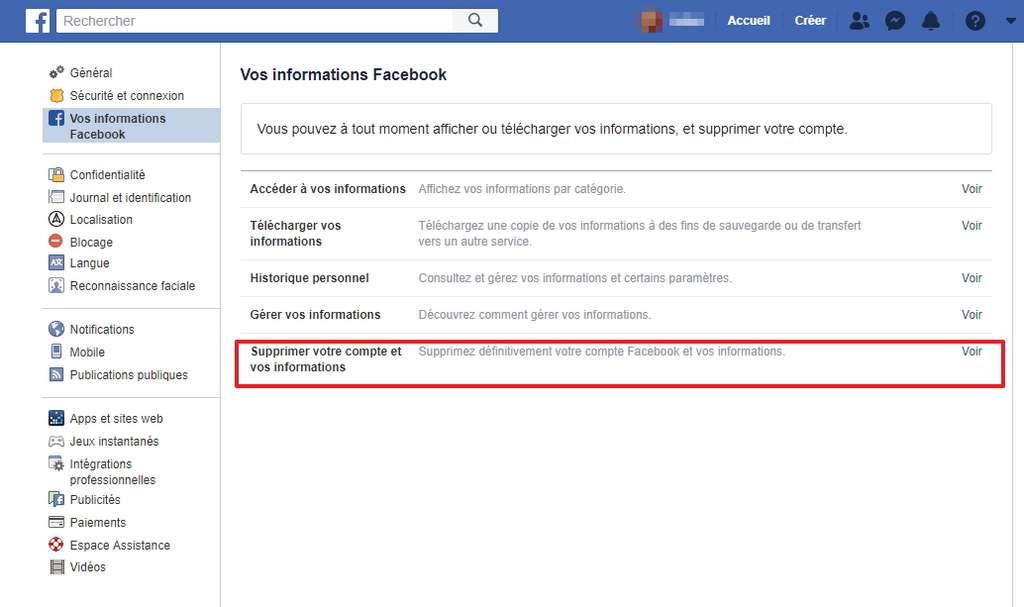Il est désormais possible de supprimer définitivement son compte Facebook. © Facebook