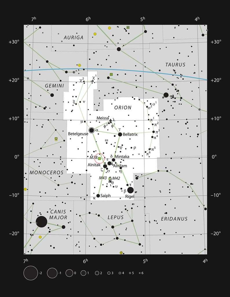 Cette carte montre Messier 78 dans la constellation d'Orion (carré blanc sur l'image) ainsi que la plupart des étoiles visibles à l'œil nu dans de bonnes conditions. Messier 78 est indiquée par un cercle rouge. Cette nébuleuse par réflexion est relativement brillante et peut être observée avec un télescope d'amateur de taille moyenne. © ESO/IAU/Sky and Telescope