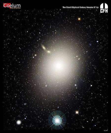 La galaxie elliptique M87, très massive, possède environ 15.000 amas globulaires, ce qui est énorme en comparaison des quelque 160 environ connus dans la Voie lactée. Crédit : Canada-France-Hawaii Telescope, J.-C. Cuillandre (CFHT), Coelum