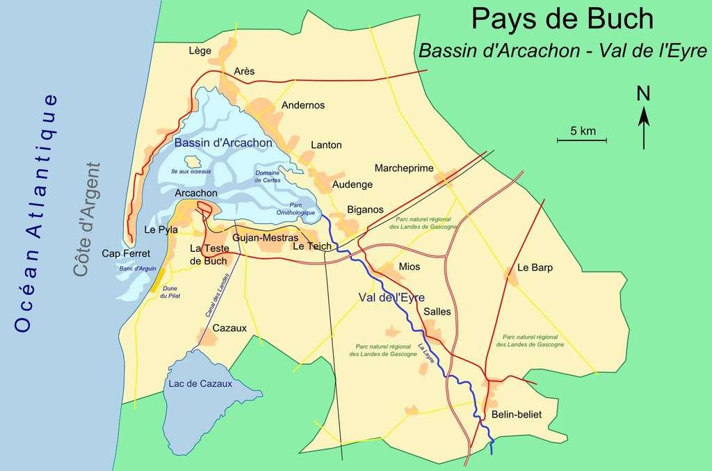 Carte du bassin d'Arcachon. (Cliquez sur la carte pour l'agrandir). © DR