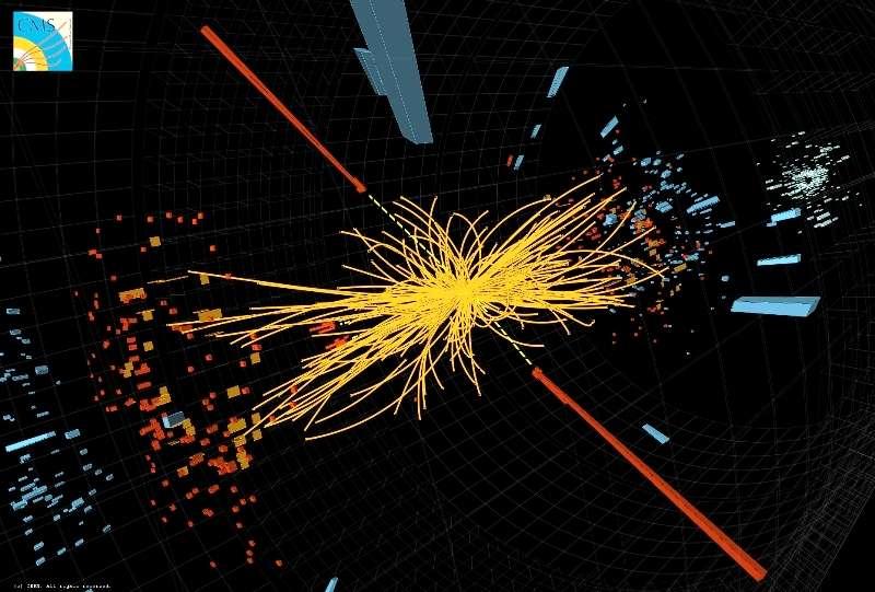 Dans le détecteur CMS, deux signatures (traits rouges) sous forme de deux photons partant simultanément dans des sens opposés correspondrait à la désintégration d'un boson de Higgs dont la masse est d'environ 124 GeV. © Cern