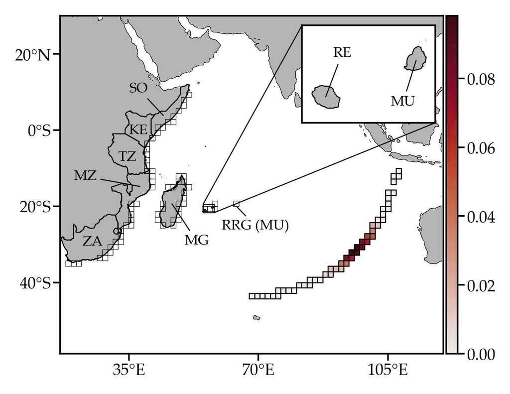 Site le plus probable du crash du vol MH370 de Malaysia Airlines près du 25e parallèle sud, dans l'océan Indien, le long de l'arc de cercle définissant la position possible de l'avion au moment du crash. Cet arc a été déterminé grâce au satellite Inmarsat, qui a enregistré le dernier contact avec l'appareil. © Philippe Miron et al., Chaos: An Interdisciplinary Journal of Nonlinear Science, 2019
