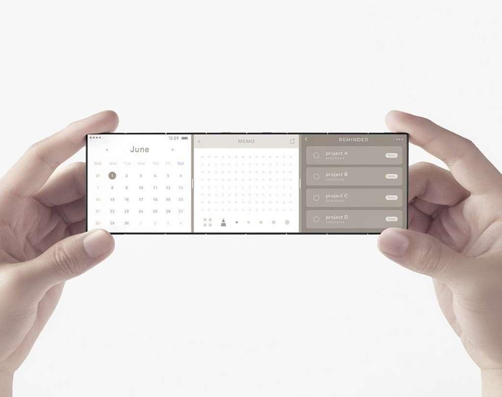 Un format tout en longueur qui permet d'afficher plusieurs applications. © Oppo, Nendo