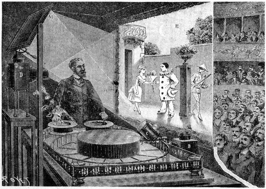 Première représentation publique du théâtre d'optique de Reynaud © Illustration Louis Poyet, Wikimedia Commons, Domaine public