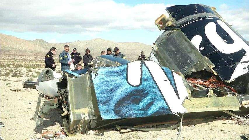 Le 31 octobre 2014, le SpaceShipTwo s'est écrasé dans le désert de Mojave, en Californie, faisant un mort et un blessé grave. © National Transportation Safety Board