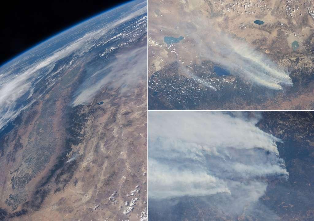 Les incendies de Yosemite vus depuis la Station spatiale internationale, située à quelque 400 km d'altitude. © Nasa