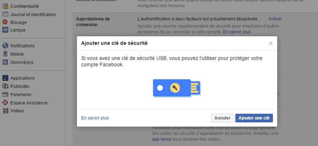 L'activation de l'authentification à deux facteurs avec une clé de sécurité U2F ne prend que quelques minutes. © Futura