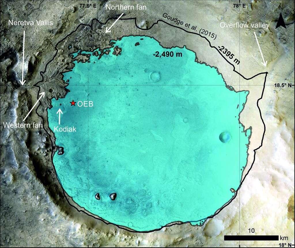 Carte du cratère Jezero avec l'étendue du lac qu'il a abrité il y a 3,6 milliards d'années. L'étoile représente la localisation de Perseverance, à proximité des dépôts deltaïques (Kodiak) © Nasa/JPL-Caltech/MSSS/LPG/Science