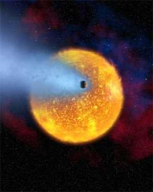 Vue d'artiste de l'évaporation de l'exoplanète HD 209458 b. © Agence spatiale européenne, Alfred Vidal-Madjar (Institut d'astrophysique de Paris, CNRS, France) et Nasa
