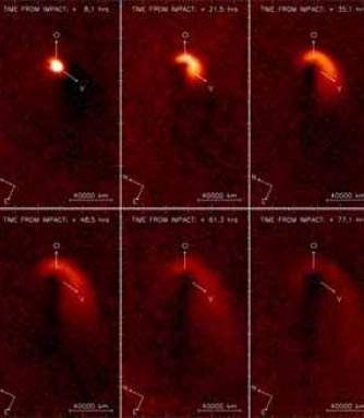 Cette séquence d'images a été obtenue par la camera à haute résolution NAC/OSIRIS à bord de la sonde ROSETTA de l'ESA avec le filtre orange (650 +/- 85 nm). Elle montre l'évolution temporelle du nuage de poussière émis lors de l'impact de l'impacteur de la sonde DEEP IMPACT sur le noyau de la comète 9P/Tempel 1, le 4 juillet 2005. Une image pré-impact de la comète a été soustraite des images post-impact afin de visualiser plus facilement le nuage de poussières émis. Les grains de poussière sont progressivement injectés dans la queue de poussière de la comète après avoir quittés l'atmosphère de la comète..