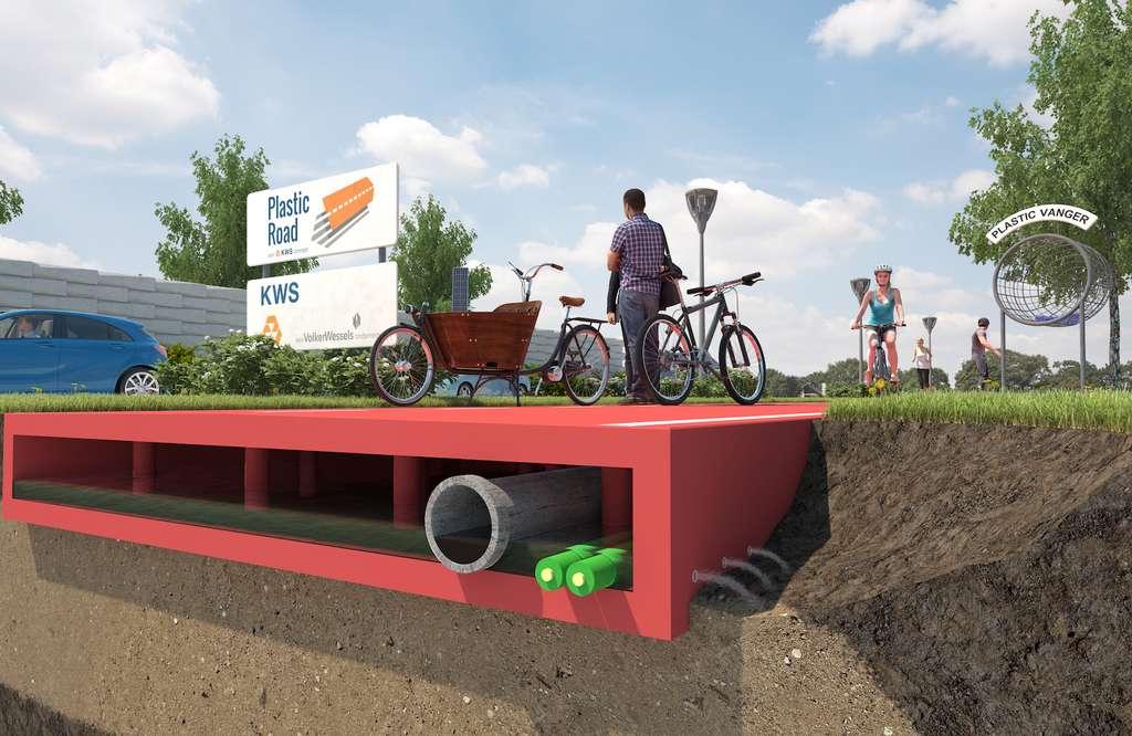Grâce à sa structure en creux, la PlasticRoad draine l'eau et peut intégrer des capteurs, câbles électriques ou stocker le froid et la chaleur. © PlasticRoad