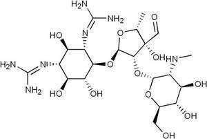 Schéma de la structure de la streptomycine, molécule qui peut conduire à des problèmes d'audition. © Wikipedia, domaine public