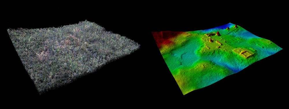 À gauche, une photo classique du site de El Zotz, dans la région des ruines mayas découvertes récemment, et, à droite, une image créée grâce aux données Lidar. © Ithaca College