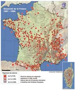 © Données BCSF 2001. La sismicité de la France (1997-1999).