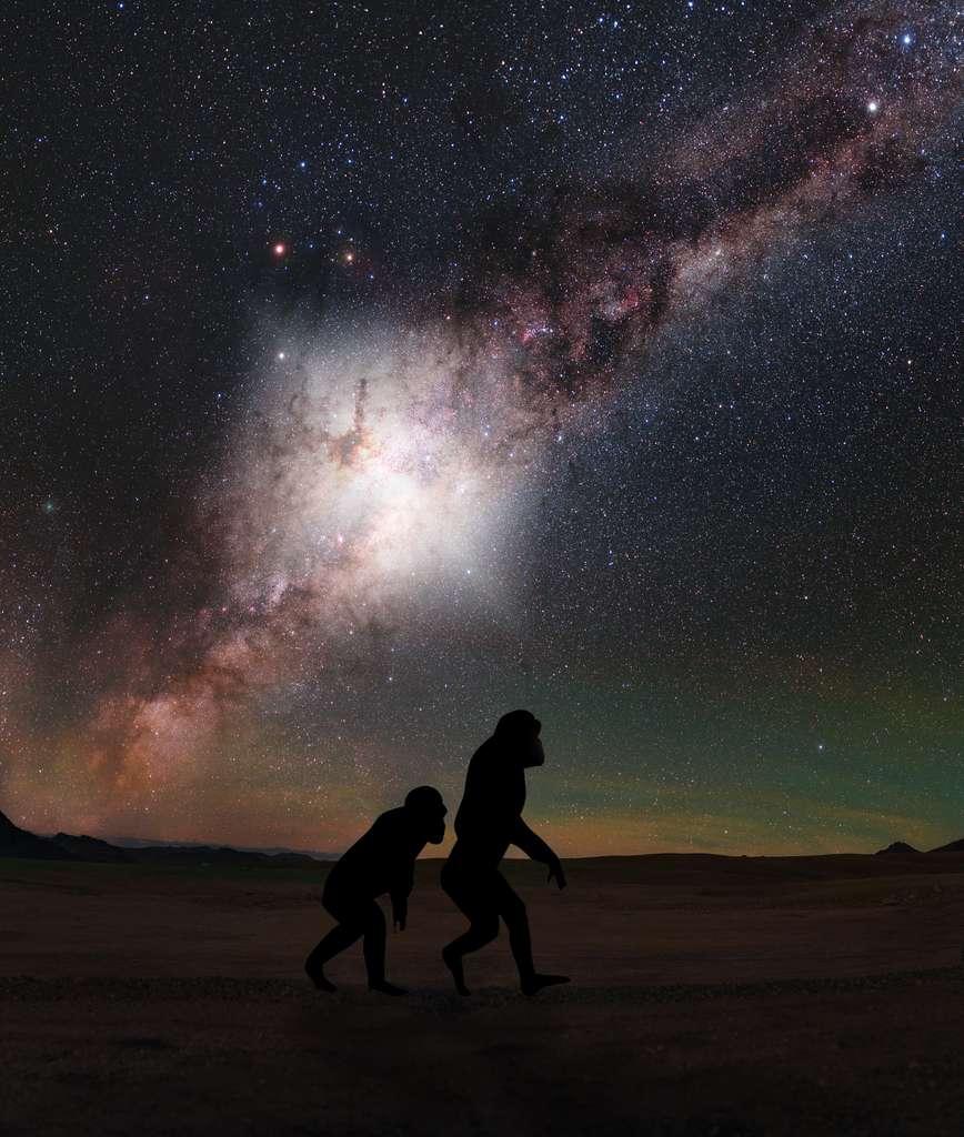 Il y a environ 3,5 millions d'années - juste un clin d'œil à l'échelle cosmique - une formidable explosion a secoué le centre de notre galaxie. Nos lointains ancêtres hominidés, déjà en marche sur les plaines africaines, l'auraient probablement vue comme le montre cette image d'artiste. © Nasa, ESA, G. Cecil (UNC, Chapel Hill) and J. DePasquale (STScI)