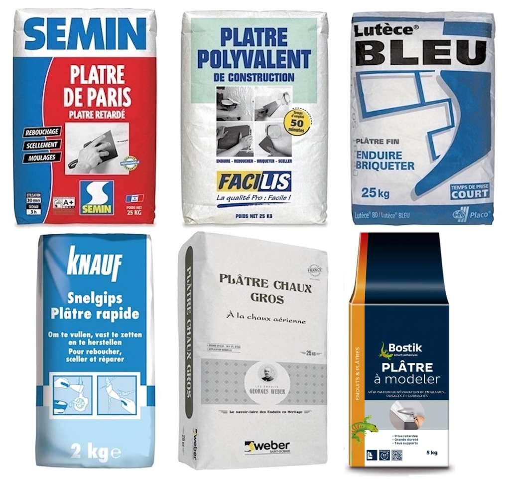 Le plâtre se vend en boîtes, en paquets ou en sacs de 1 à 25, 33 ou 40 kg.