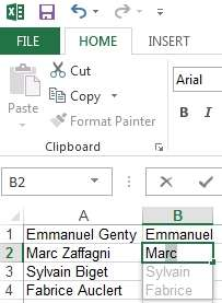 Exemple de possibilité avec l'option Flash Fill d'Excel 2013. © Sylvain Biget, EP