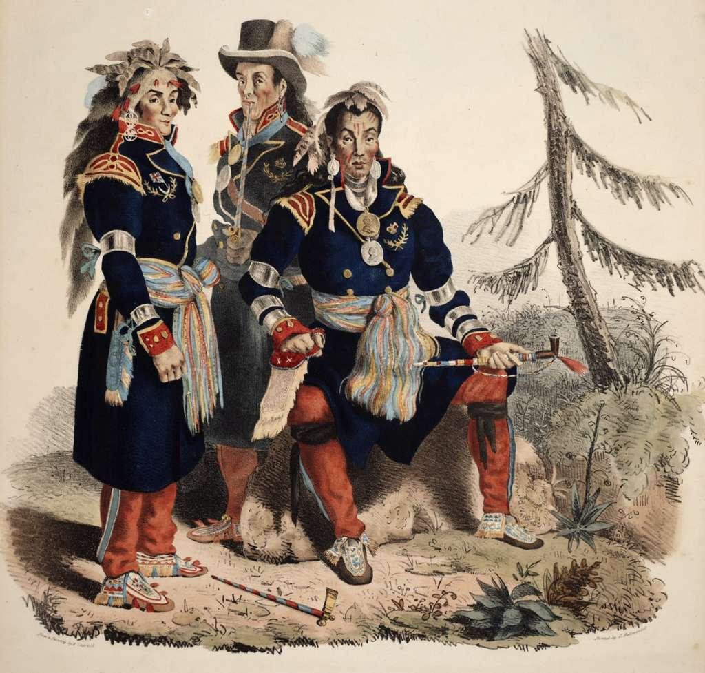 Portraits de trois chefs hurons en costume d'officiels, à Jeune Lorette (Québec), par Edward Chatfield vers 1825. © Wikimedia Commons, domaine public.
