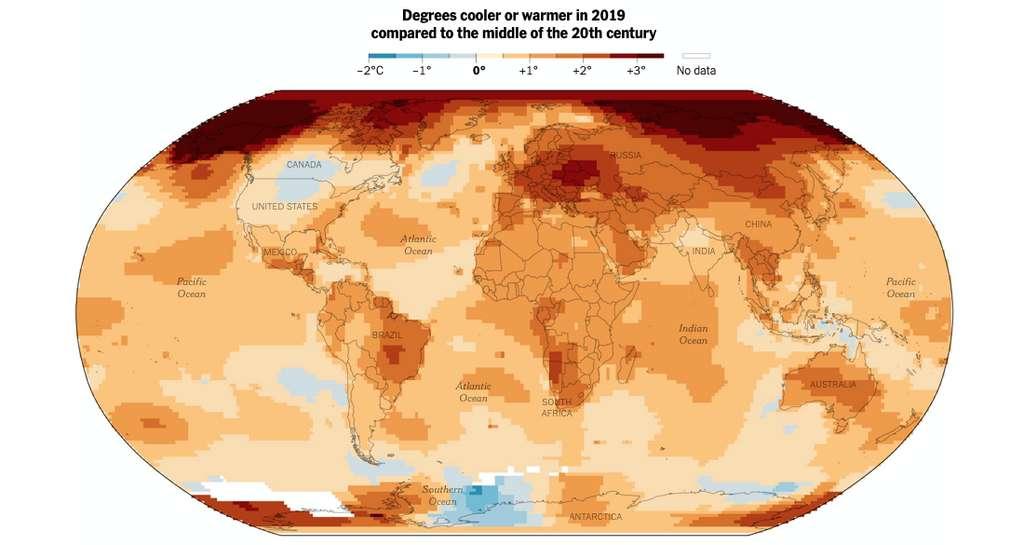 Peu d'endroits de notre Planète ont connu, en 2019, des températures moyennes inférieures – ou égales – à celles du milieu du XXe siècle. © GISS, Nasa
