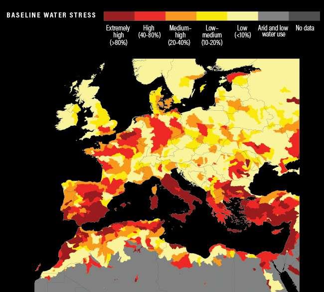 Cette carte montre l'état de la pénurie hydrique en Europe et au nord de l'Afrique. © World Resources Institute