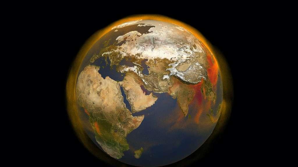 Le méthane, c'est, après le CO2, le deuxième responsable du réchauffement climatique. Et des chercheurs de la Nasa viennent de mettre au point un nouvel outil de suivi de ce gaz et de son rôle dans notre atmosphère. © Nasa, Scientific Visualization Studio