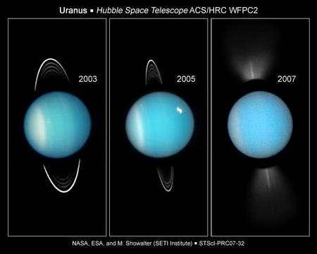 Uranus vue par la caméra planétaire du Télescope spatial Hubble, en 2003, 2005 et 2007. Crédit NASA/ESA.