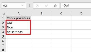 Énumérez les choix possibles dans votre nouvelle feuille de classeur. © Microsoft