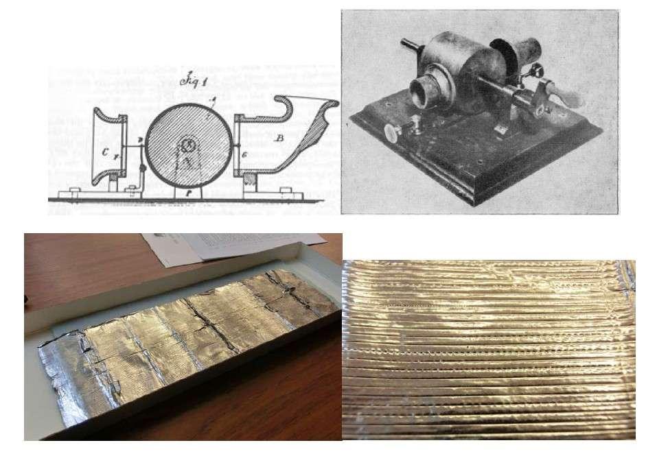 Sur les deux images supérieures, on découvre un schéma et une reproduction du phonographe de Thomas Edison. On distingue le cylindre, actionné par une manivelle, sur lequel était enroulée la feuille d'aluminium. Le stylet relié à un diaphragme y imprimait les vibrations produites par l'onde sonore de la voix humaine sous la forme de sillons verticaux. Il suffisait ensuite d'inverser le processus pour lire l'enregistrement. © Lawrence Berkeley National Laboratory/Misci