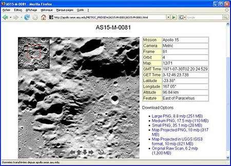 Le site de démonstration développé par l'université d'Arizona. Copie d'écran.